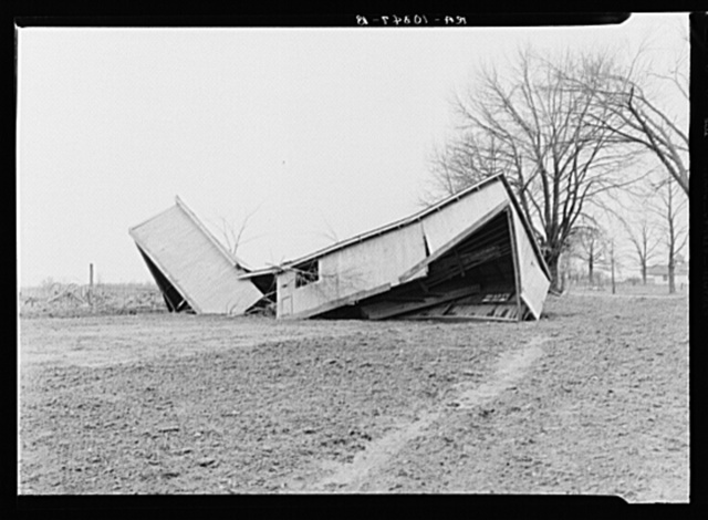 Chicken house twisted by the flood. Point Township, Posey County, Indiana