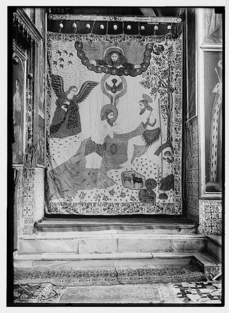 Church of St. James. Ind. [i.e., Indian] print before side altar, representing baptism of Christ