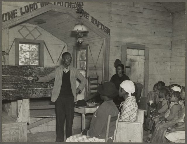 Conducting school in the church. Gees Bend, Alabama