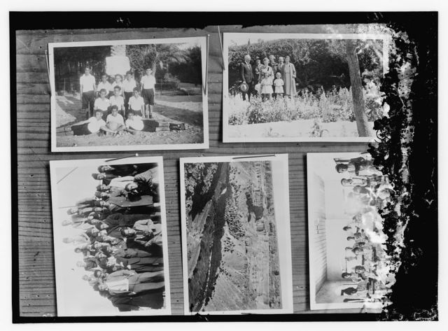 [Copy of photographs showing: boys' sports team (upper left); group portrait of men, women, and children (upper right); group portrait of young men gathered around man with camera (bottom left); landscape (bottom center); and boys and men in classroom (bottom right)]