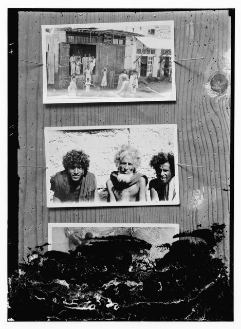 [Copy of photographs showing: people in front of the American Mission Bookshop (top); three men (center); damaged photograph (bottom)]