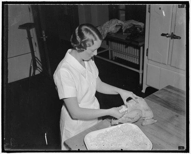 Correct way to bake turkey. Mrs. Lamb stuffs the bird with dry bread. When dressing is used, stuffing is done with a spoon