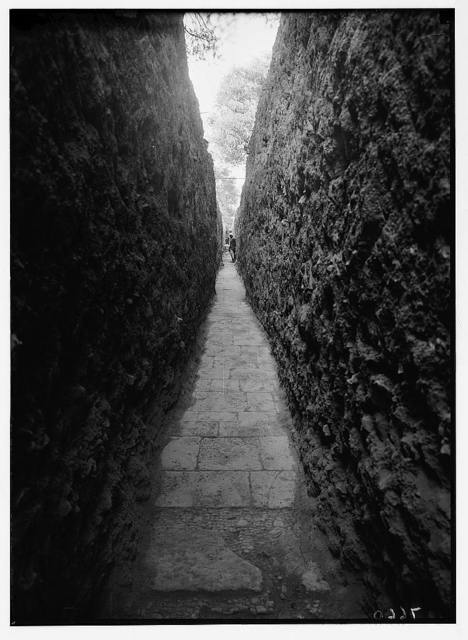 Crusader church. Gethsemane. 1937. Remains of Crusader church near Gethsemane. Pavement taken in trench