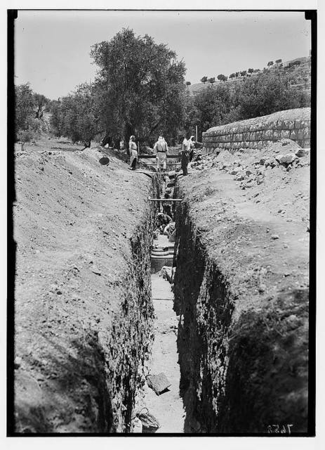 Crusader church. Gethsemane. 1937. Remains of Crusader church near Gethsemane found in June (or 1st July)
