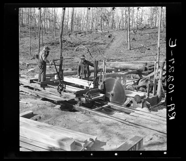 Cutting timber into boards at the country sawmill near Omaha, Illinois