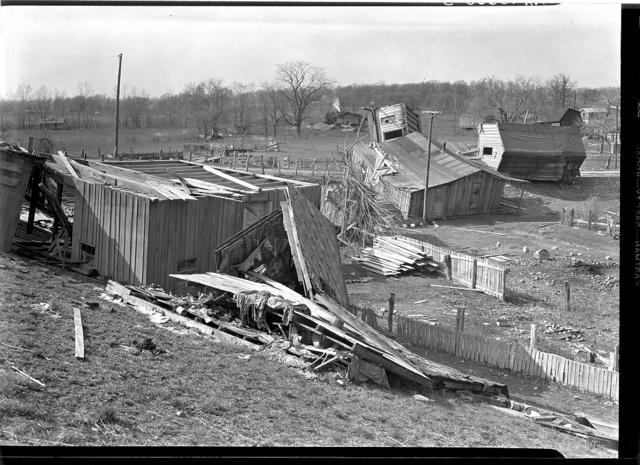 Damage done during the 1937 flood near Shawneetown, Illinois
