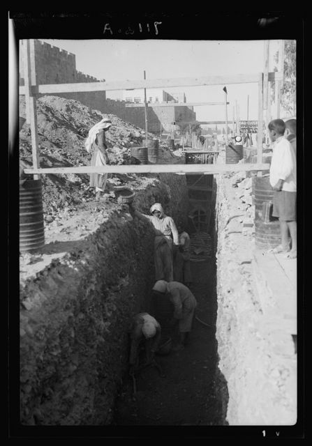 Deep sewage trench at Herod's Gate (October 1937)