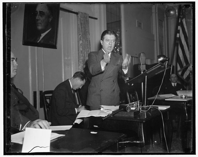 """Democratic government vs.against organized force of reaction. Washington D.C., March 8. Before six hundred labor leaders from all parts of the country, Senator Robert Lafollette, Progressive of Wisconsin, delivered the principal speech at the opening session of the Convention of the Labor Nonpartisan League today. Urging the league to back President Roosevelt's court reorganization plan to the limit, Senator Lafollette said: """"In the coming legislative struggle the strength of popular democratic government in America will be pitted against the organized force of reaction,"""" 3/8/1937"""