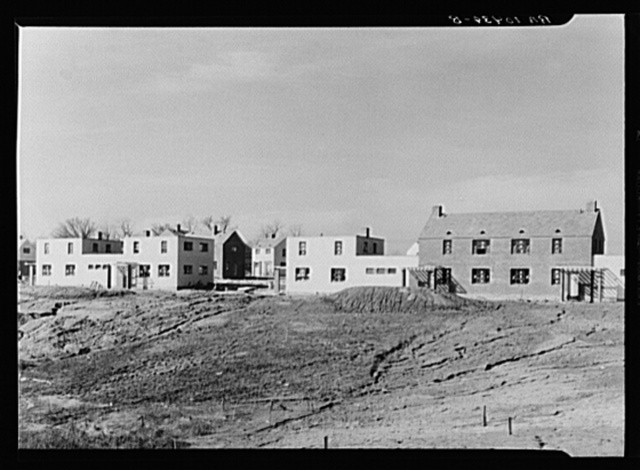 Different types of houses being constructed on the Suburban Resettlement Administration project. Greenhills, Ohio
