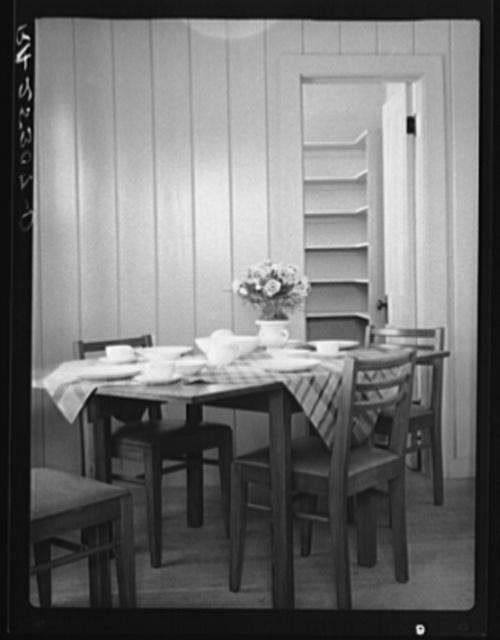 Dining room interior. Plum Bayou Homestead, Arkansas