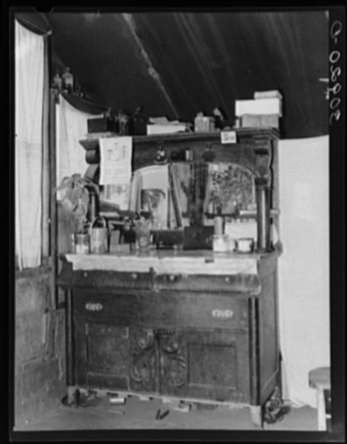 Dresser in home of John Harshenberger, Mennonite farmer. Sheridan County, Montana