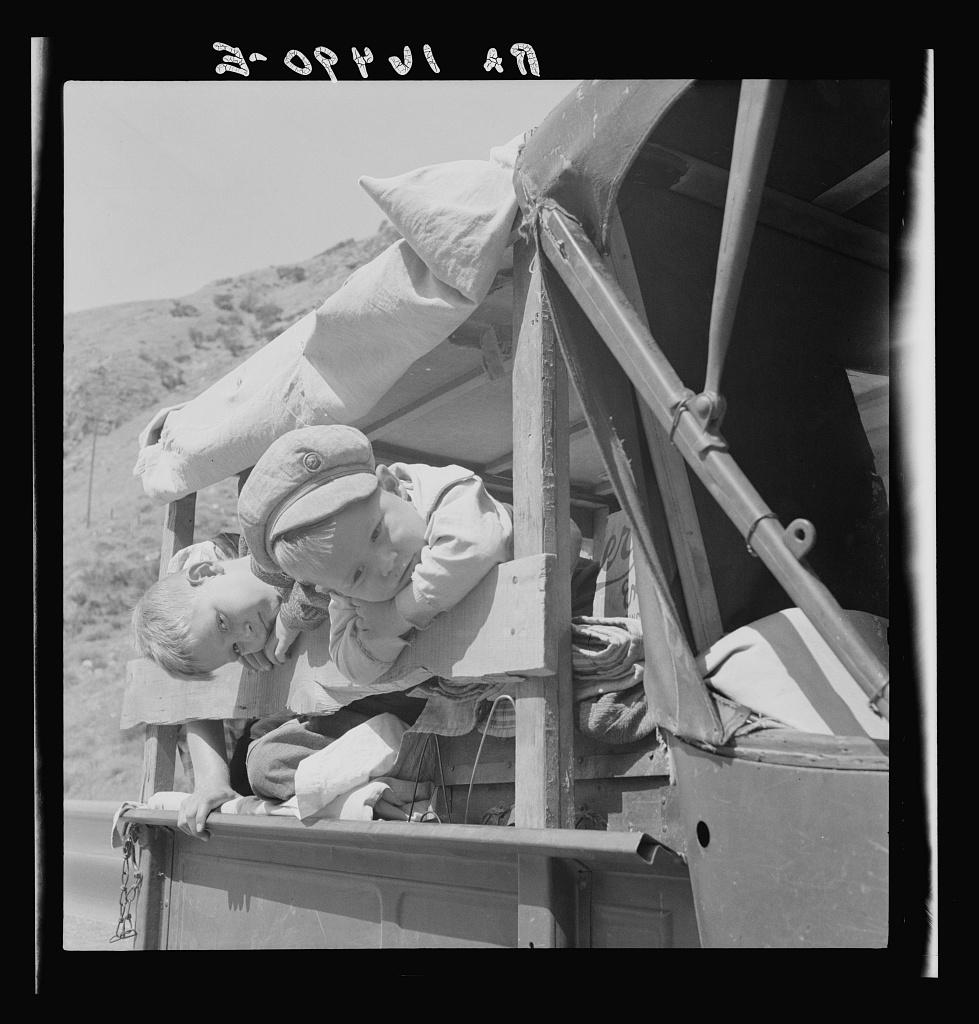 Drought refugee children on U.S. 99 near Bakersfield, California