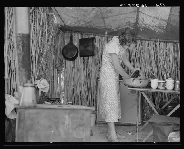 Drought refugee living in a ditch bank camp. Imperial County, California