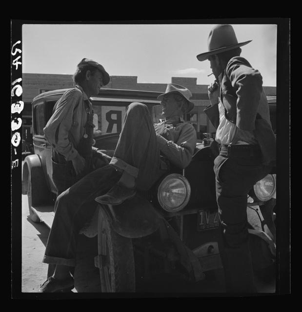 Drought refugees waiting for relief checks. Calipatria, California