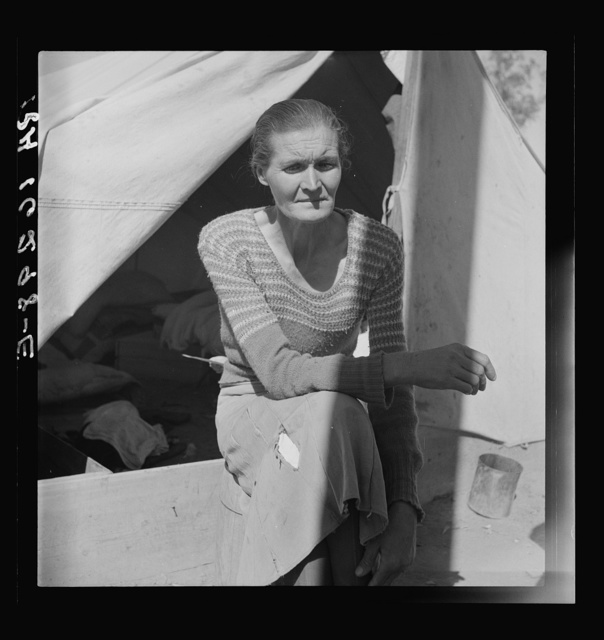"""Dust bowl refugee from Chickasaw, Oklahoma. Imperial Valley, California. """"Black Sunday, 1934, that was the awfullest dust we ever did see"""""""