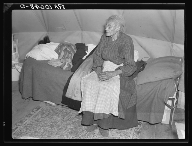 Ellen McAllister, ninety-one years old, the oldest resident of Shawneetown, Illinois, is a flood refugee at Tent City camp