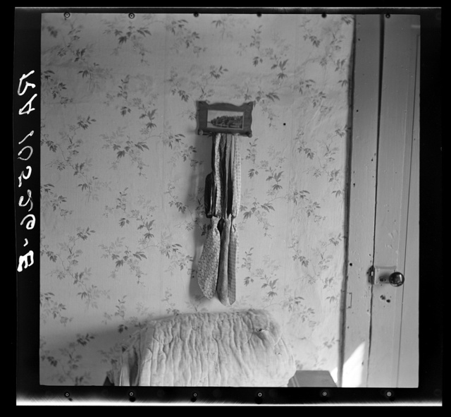 Elmer Johnson's neckties. Bedroom in the home of a hired farmhand, thirty-six years old, and father of three children. Near Battle Ground, Indiana