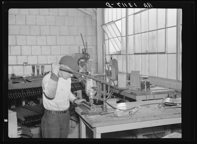 Employees in the vacuum cleaner factory. Arthurdale project, Reedsville, West Virginia
