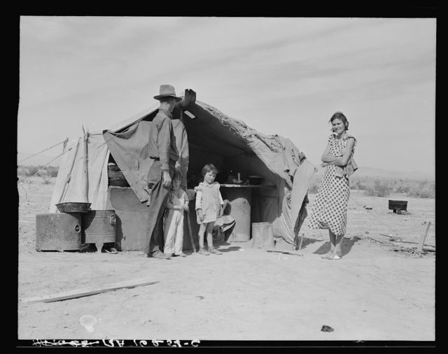 """Family of four to be returned to Oklahoma by the Relief Administration. """"They won't go until they get so hungry that there's nothing else for them to do. They won't go--not twenty-five percent will go"""" said a transient case worker in Imperial County. This family was hungry. They lost a two-year-old baby as the result of exposure during the winter. Holtville, California"""