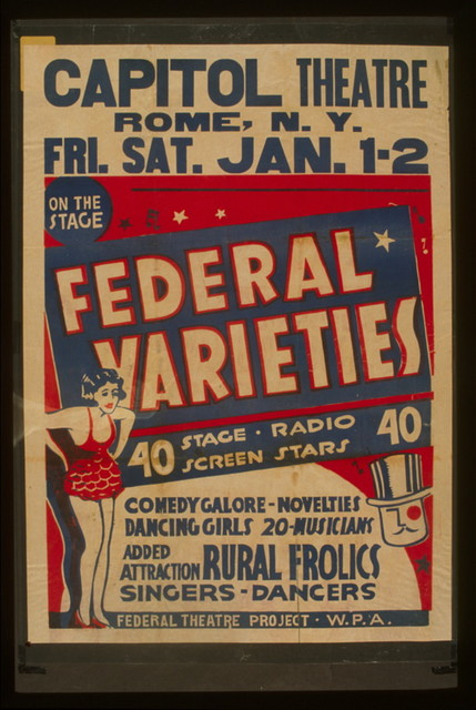 Federal Varieties 40 stage, radio, screen stars : Comedy galore - novelties - dancing girls - 20 musicians : Added attraction Rural frolics : Singers - dancers.