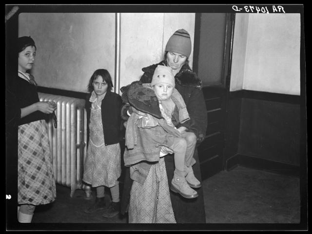 Flood refugees in schoolhouse at East Prairie, Missouri
