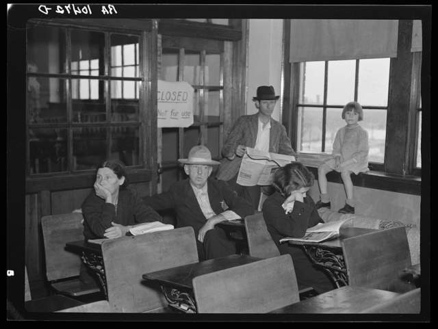 Flood refugees who were sheltered in the schoolhouse at East Prairie, Missouri