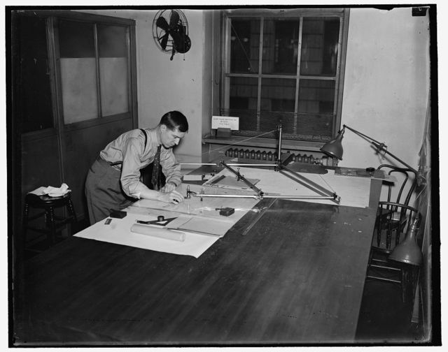 Frank Albert, reducing a navigation chart to half the size with a pantograph