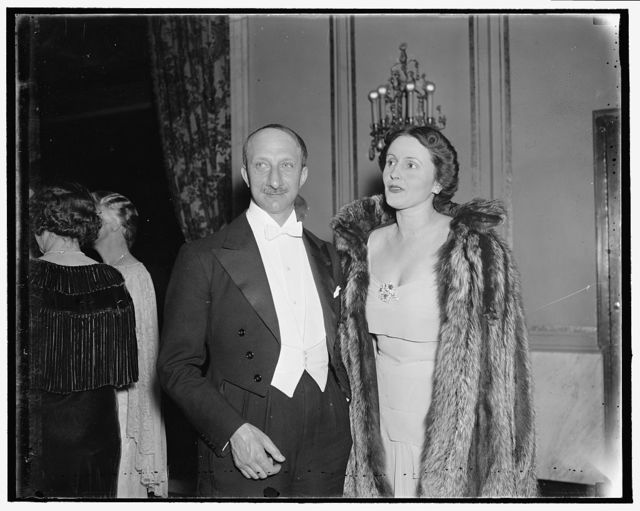 French Ambassador and Mme. Bonnett. Washington, D.C., April 3. The French Ambassador and Mme. Georges Bonnett pictured as they attended the Ball of Nations in the Capital this week, 4/3/1937