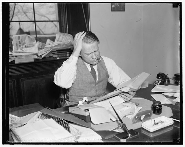 "Gets house backing on sit down strike inquiry. Washington, D.C., April 3. The first member of Congress to raise his voice against what he called an ""unlawful action"" by a labor group, Rep. Martin Dies, Democrat of Texas, has introduced a resolution in the House for a congressional inquiry into the sit, 4/3/1937"