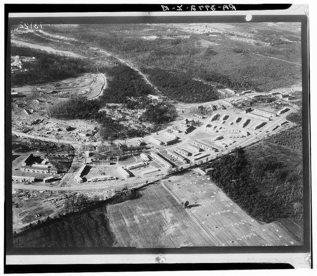 Greenbelt, Maryland. A model community planned by the Suburban Division of the United States Resettlement Administration. Airview of the project