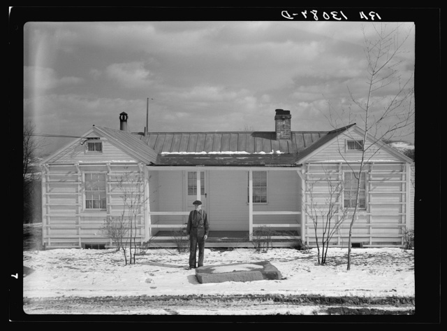 Hodgson houses and homesteader at Arthurdale project. Reedsville, West Virginia