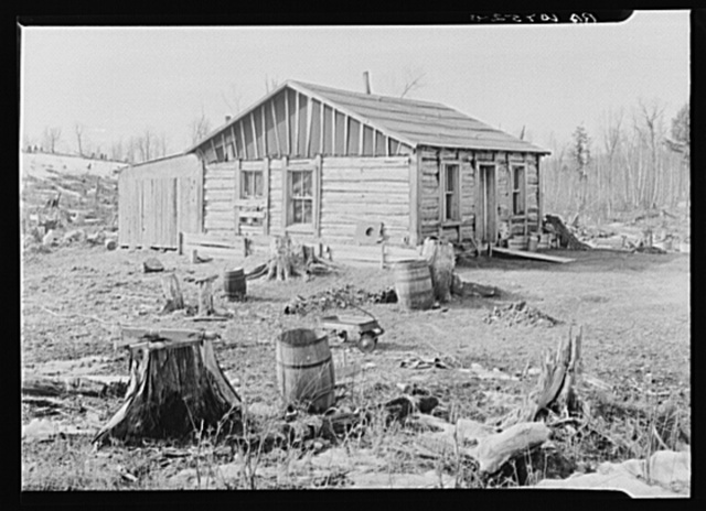 House occupied by the Ingrahams and the Smallwoods near Nelma, Wisconsin.  Ingraham, a lumberjack, has a wife and two children. Smallwood, a laborer migrated from Kentucky, has a wife and baby
