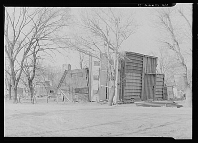 Houses overturned by the 1937 flood near Shawneetown, Illinois
