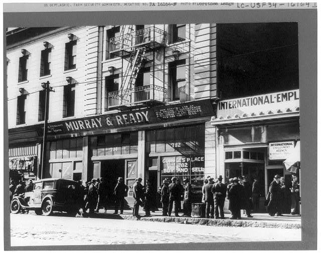 """Howard Street in San Francisco, known as """"Skid Row,"""" the district of the unemployed"""