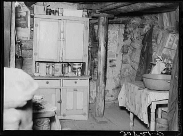 Interior of homesteader's shack near Williston, North Dakota