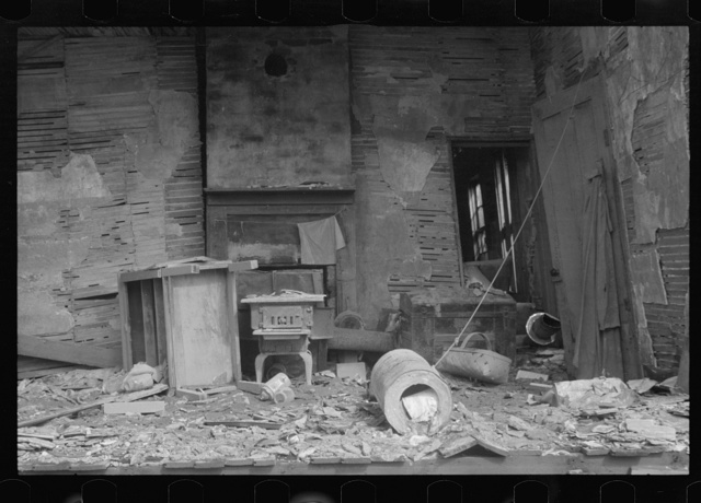 Interior of house demolished by flood of 1937, Smithland, Kentucky