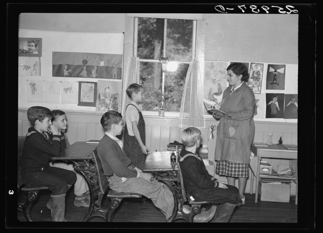 Interior of schoolhouse on land use project. Albany County, New York