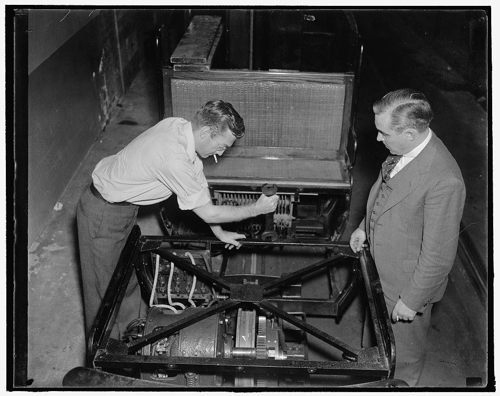 L to r: R.H. Moyers & Tom. Younger, Supt. of Senate Office Bldg. Senate Trum. Var.