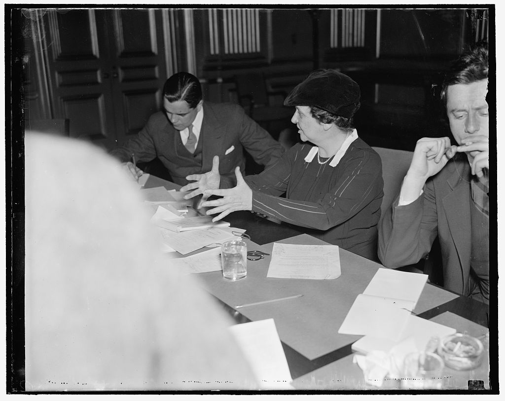 Labor Secretary. Washington, D.C., April 21. Secretary of Labor Francis Perkins was in fine fettle today at her press conference following the meeting of the labor and industrial leaders, 4/21/1937