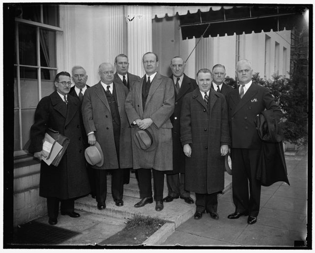 Left to right: Clayton Grandy, Cleveland; Cong. Martin L. Sweeney, Ohio; R.J. Gray, Wash. D.C.; James G. Caffery, Cleveland; Sen. Robert J. Bulkley, Ohio; D.W. Tracy, Wash., D.C.; Frank Carnahan, Wash., D.C.; Albert Delton, Cleveland; Joseph A. Mcinerney, Wash., D.C.