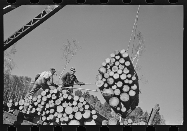 Loaders pushing logs into place while loading car, lumbercamp near Effie, Minnesota