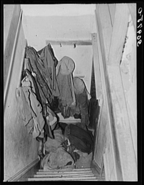Looking down stairway in home of John Baker, farmer of Divide County, North Dakota