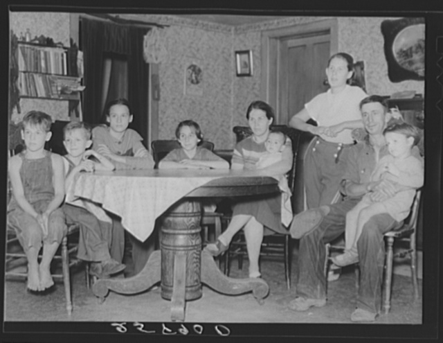 Lorenzo Clapper and family. Member of the Otsego Forest Products Coop. His farm contains sixty-seven acres, twenty-three acres of wood lot. Otsego County, New York