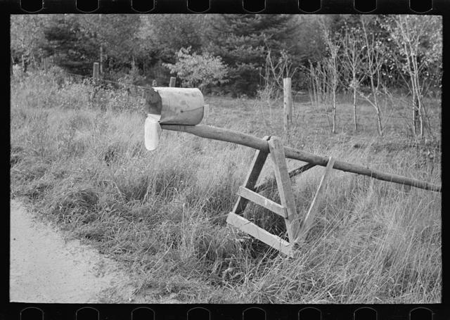 Mail box of cut-over farm, near Northome, Minnesota