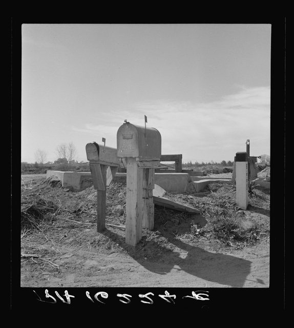 Mail boxes and irrigation gates. Imperial Valley, California