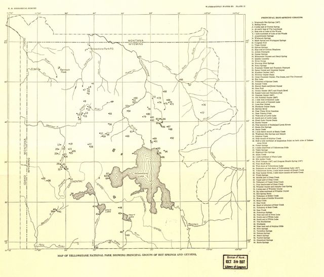 Map of Yellowstone National Park showing principal groups of hot springs and geysers.