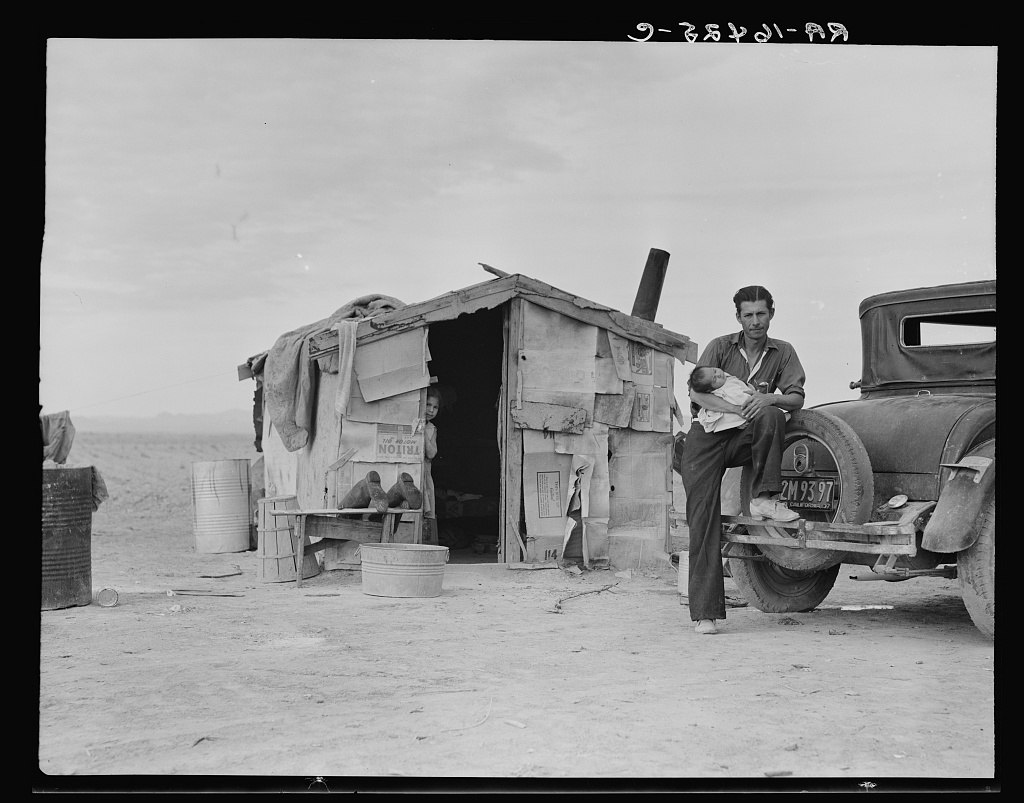 Migratory Mexican field worker's home on the edge of a frozen pea field. Imperial Valley, California