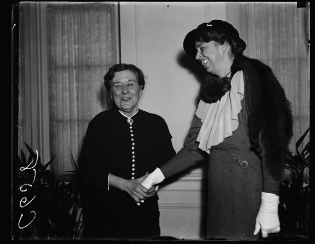 MRS. PRESIDENT AND MRS. VICE PRESIDENT. WASHINGTON, D.C. JANUARY 12. MRS. FRANKLIN ROOSEVELT WAS THE HONORED GUEST AT A LUNCHEON GIVEN BY MRS. JOHN GARNER FOR THE SENATE LADIES' LUNCHEON CLUB WHICH WAS HELD AT THE WASHINGTON CLUB. PHOTO SHOWS MRS. GARNER GREETING MRS. ROOSEVELT