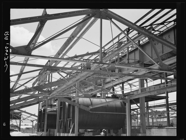 Naval stores processing plant under construction. This type of plant (first one at Jacksonville, Florida, second at Valdosta, Georgia) will probably revolutionize the turpentine industry; in future, farmers will cut their own trees and deliver their own raw gum to this type of plant. Near Valdosta, Georgia