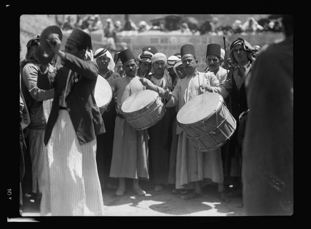 Neby Mousa [i.e., Nebi Musa], 1937; at shrine and J'lem. [i.e., Jerusalem]
